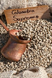 Columbia coffee. Image of a sack of raw coffee beans from Columbia stock photography