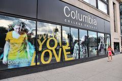 Columbia College, Chicago. CHICAGO, USA - JUNE 27, 2013: Person walks past Columbia College in Chicago. It is a higher education institution specializing in arts stock photo