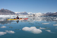 Columbia Glacier kayaker Stock Images