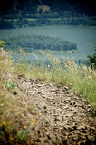 Columbia Gorge Ledge. A trail on a ledge overlooking the Columbia Gorge royalty free stock photography