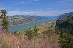 Columbia Gorge With Vista House On Right Royalty Free Stock Photo
