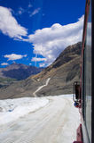 The Columbia ice field at Canadian Rockies, and the view of the glacier Stock Photography