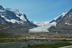 Columbia Icefield 1, Alberta, Canada. A view of the Columbia Icefield. The icefield is a glacier that is safe for tourist to walk on. The view shows the access Royalty Free Stock Image