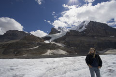 Columbia icefield with blond woman Stock Photo