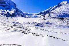 Columbia Icefield i ny snö, jaspis Arkivfoto