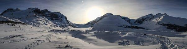 Panorama on the columbia icefield between Jasper and Banff, Alberta, Canada stock photo