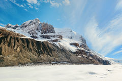 Columbia Icefield. With snow covered mountains in Banff Jasper National Park, Canada royalty free stock image