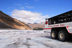 Columbia icefield tour. The tour over the glacier with the Brewster company on the Columbia icefield with their special truck Stock Image