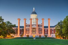 Columbia, Missouri, USA historic campus. And columns stock photography