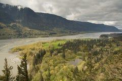 Columbia Riverfrån fyren Rock royaltyfria foton