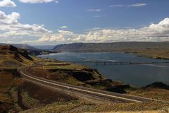 Columbia River. A view from a viewpoint near Grand Coulee Dam stock images