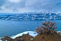 Columbia River. Spectacular shot of Columbia River in Vantage Washington - Winter royalty free stock images