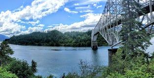 Columbia river and bridge of gods Stock Photos