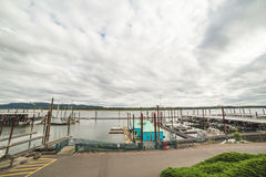 Columbia River Docks. Docks on the Columbia River with clouds above Royalty Free Stock Photography