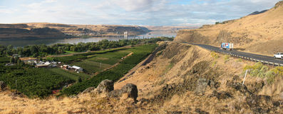 Columbia River Gorge. Highway approach to the Columbia River Gorge from the Washington side of the river, near Maryhill State Park stock image