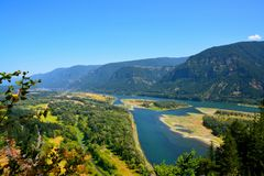 COLUMBIA RIVER GORGE. A beautiful, island view while hiking along the Columbia river gorge Stock Images