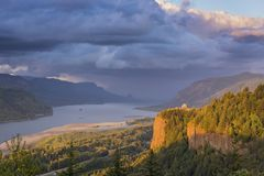 Columbia River Gorge clouds and sunset. stock photography