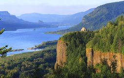 Columbia River Gorge & Crown point OR. Crown point and Columbia river gorge at sunset, Oregon Stock Images