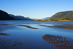 Columbia River Gorge. Evening panorama of Columbia River Gorge at Rooster Rock State Park, Oregon stock images