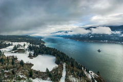 Columbia river gorge National scenic area overlook in winter Royalty Free Stock Image