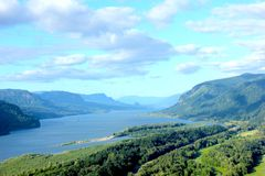 Columbia River Gorge Oregon. Columbia River Gorge locates between Oregon and Washington State of America stock photo