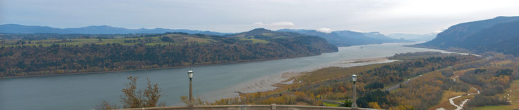 Columbia River Gorge. A panoramic view of the Columbia River Gorge from the historic Vista House in Crown Point, Oregon Royalty Free Stock Photos