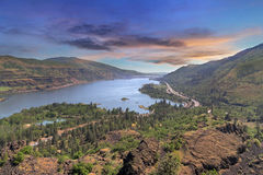 Columbia River Gorge from Rowena Crest at sunset. Columbia River Gorge along Highway Intestate 84 from Rowena Crest in Oregon at sunset Royalty Free Stock Image
