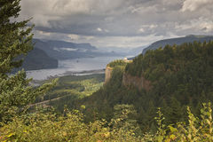 Columbia River Gorge after some rain Oregon. Columbia River Gorge from the women's forum Oregon royalty free stock photography