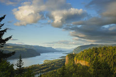 Columbia River Gorge at sunset. A view of the Columbia River Gorge at sunset Royalty Free Stock Photography