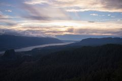 Columbia River Gorge at sunset, Washington. Columbia River Gorge at sunset Travel in Washington and Oregon Royalty Free Stock Image