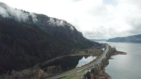 Columbia river gorge time lapse. This is a time lapse footage of Columbia river gorge with moving clouds stock video