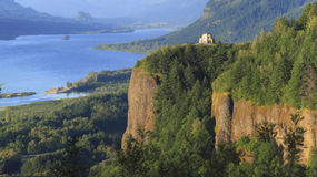 The Columbia River Gorge & Vista house. A panoramic view of the Columbia River Gorge & Crown point from the women's forum, Oregon Stock Photography