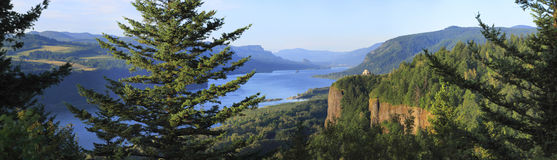 The Columbia River Gorge & Vista house, panorama. A panoramic view of the Columbia River Gorge & Crown point from the women's forum, Oregon Royalty Free Stock Images
