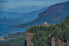 The Columbia River and Vista House. A view of Vista House and the Columbia Gorge with fire damaged hills in the distance.  Taken the day traffic was reopened to Stock Image