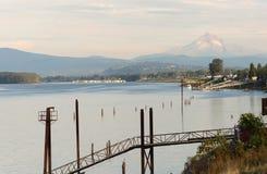 Columbia Riverfront Mount Hood Oregon River Cascade Mountains Royalty Free Stock Photos