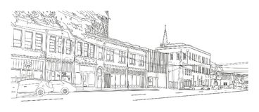 Columbia SC – View on Taylor Street. A line-art digital drawing of a view on Taylor Street buildings, Columbia SC vector illustration