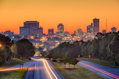 Columbia SC Skyline. Skyline of downtown Columbia, South Carolina from above Jarvis Klapman Blvd Royalty Free Stock Photo