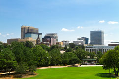 Columbia, SC Skyline - Late Summer. A view of the Columbia, South Carolina skyline from Finlay Park one late Summer afternoon Royalty Free Stock Image