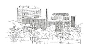 Columbia SC View On Downtown. A line-art digital drawing of a view on city`s downtown, Columbia SC vector illustration
