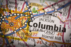 Columbia, South Carolina on map. Closeup of Columbia, South Carolina on a road map of the United States Royalty Free Stock Photography