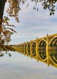 Columbia till den Wrightsville bron spänner över Susquehanna River Arkivbilder
