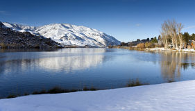Fresh Snow Still Reflection Columbia River Winter Stock Photos