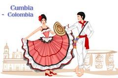 Columbiaans Paar die Cumbia-dans van Colombia uitvoeren royalty-vrije illustratie