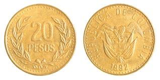 20 Columbiaans peso'smuntstuk Stock Afbeelding
