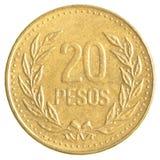 20 Columbiaans peso'smuntstuk Stock Fotografie