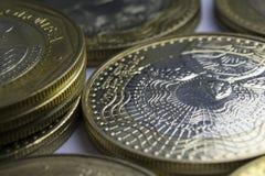 1000 Columbiaanse peso'smuntstukken Macro van muntstukkensamenstelling Stock Foto