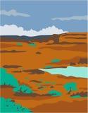 Columbian Basin Desert Scene WPA. WPA style illustration of a columbian basin desert or arid steppe with water basin lake scenery set inside rectangle shape Royalty Free Stock Photo