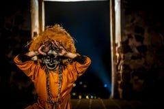 Columbian Girl Dancing In Mask Stock Photo