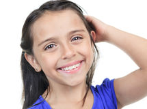 Columbian Little Girl Fun Look in front of a white Royalty Free Stock Photography