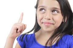 Columbian Little Girl Fun Look in front of a white Stock Photos